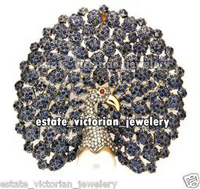 Antique Style 4.79Cts Rose Cut  Diamond Gemstone Studded Peacock Brooch Jewelry