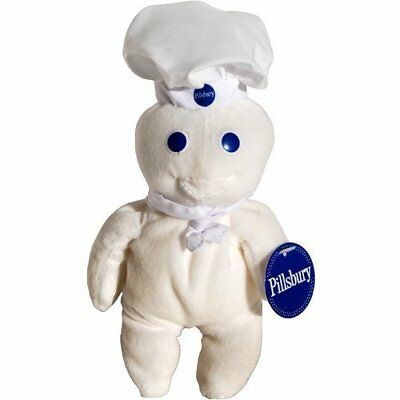 "NWT 1997 Pillsbury Doughboy Poppin Fresh 8"" Beanie Plush Doll Bean Bag by Dakin"