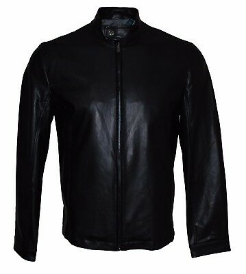 Perry Ellis Men's Stand Collar Faux Leather Bomber Jacket Black, S