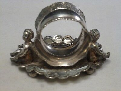 antique QUADRUPLE PLATE  figural napkin ring/holder 2 CHERUBS Wilcox 01536