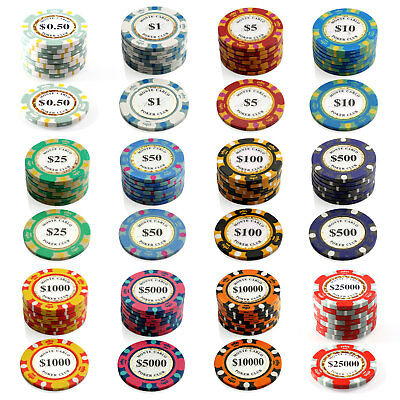 500 Monte Carlo Chips 14g Poker Game Set Gambling Casino Pick Any Combo New