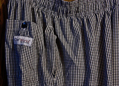 chef pants 2 checkered pair lot chef works regent ships free