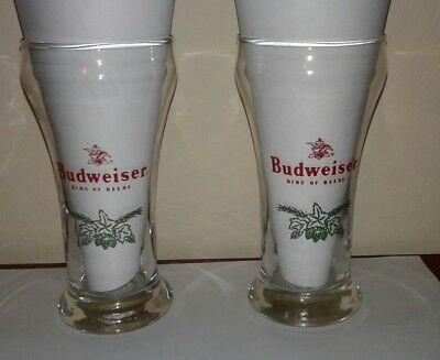 2 Budweiser King of Beers Pub Style Sham Beer Glass Eagle Logo Green Hops & Malt