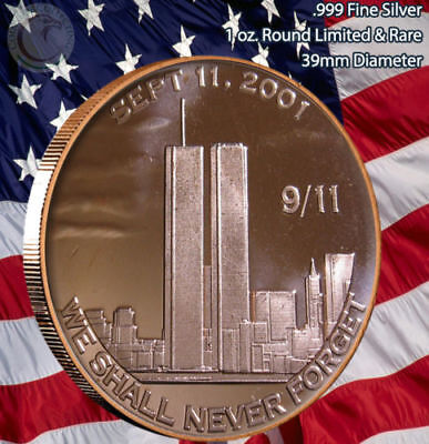 """911 """"We Shall Never Forget"""" Sept 11, 2001 1 oz .999 Copper Round/Coin"""