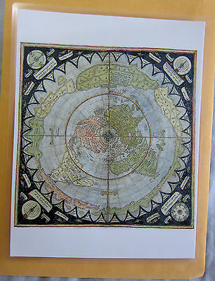 Laminated Flat Earth Map of the World mini map Monte Urbano of Milan 9 x 11.5