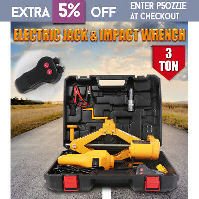 12V 3 Ton Electric Scissor Jack And Impact Wrench Auto Combo Car SUV Lift