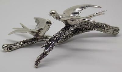 61g/2.15-oz Vintage Solid Silver Italian Made Swallows Figurine, Stamped