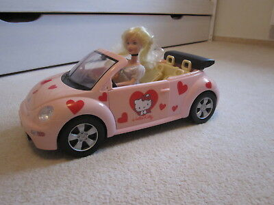 ORIGINAL SIMBA Hello Kitty VW Beetle Cabrio, pink, mit BARBIE Puppe ☝