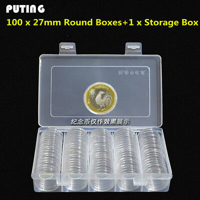 100pcs/box Coin Box Clear 27mm Round Boxed Coin Holder  Storage Capsules Display