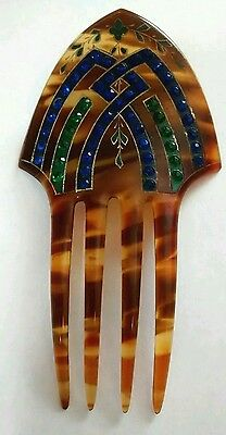 Vintage Art Deco Enamel and Rhinestone Faux Tortoise Hair Comb Accessory