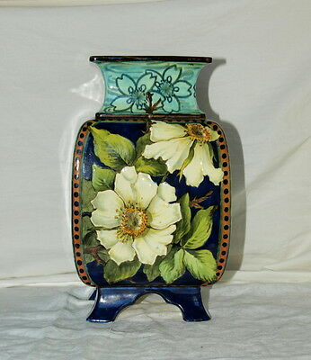 Doulton Lambeth Faience Vase Hand Painted With Attractive Dog Roses