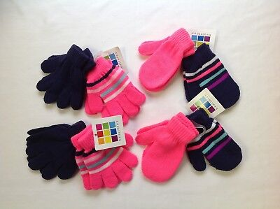 Toddler Infant Baby Mittens Winter Gloves Hot Pink Navy Blue striped 12-24 mths