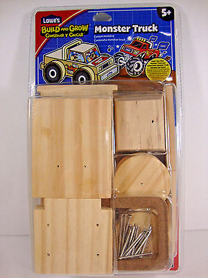 Lowe's Build and Grow Monster Truck Wooden Model Kit-Birthday Family Fun Ages 5+