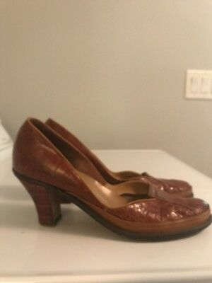 SHENANIGANS Vintage 1940s WWII Era ALLIGATOR Pin up Platform Pump Women 8.5 9