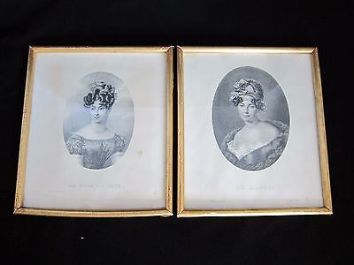 Antique Pair of 1800s Original Print French fashion lithographs