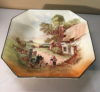 Vintage Royal Doulton Rustic England 8-Sided Square Bowl Dish 1940's #A77C