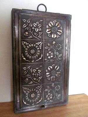 Lovely Antique Brass Floral Wall Hung Floral Plaque