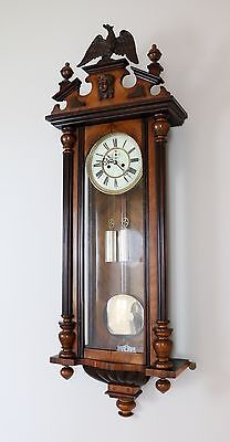 Antique 2 Weight Figured Walnut Vienna Regulator Wall Clock By H Endler