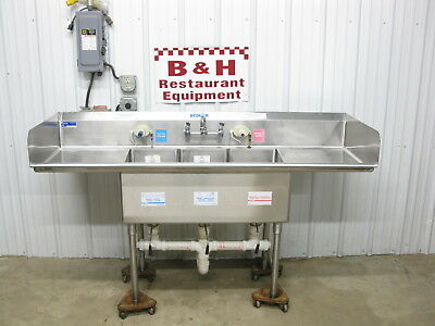 "Universal 72"" x 24"" Stainless Steel Heavy Duty Three Bowl 3 Compartment Sink 6'"
