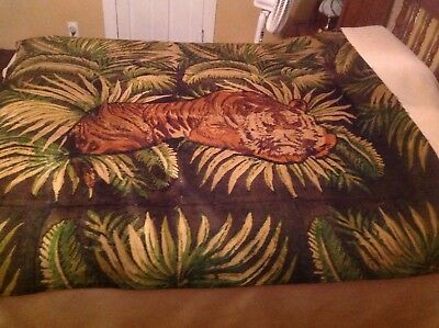 """Antique Horse Hair carriage Blanket 70""""x 64 """" double sided Heavy JUNGLE TIGER"""