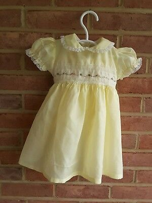 Vintage Baby Dress Yellow Lace Trim Size 18 mos