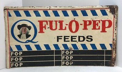 Vintage FUL-O-PEP FEEDS Farm Poultry Sign - Rare