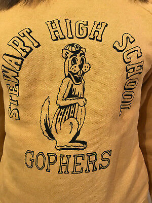 VINTAGE 1950's 1960's SWEATSHIRT STEWART HIGH SCHOOL GOPHERS KIDS OR WOMEN'S S