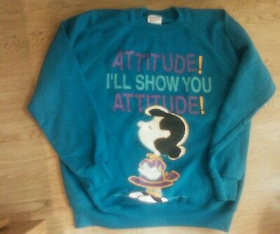 Vintage Peanuts LUCY Sweatshirt ATTITUDE! I'LL SHOW YOU ATTITUDE Large Teal GUC