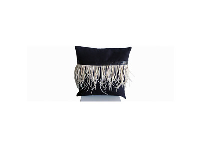 Mock Suede & Feathers Cushion in Black