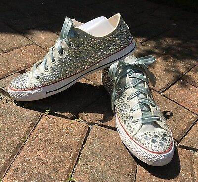 2c2f8e679a1117 NEW CUSTOM BLING RHINESTONE Converse Sneakers Low Top - Women s size ...