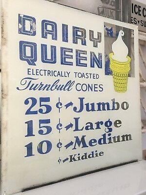 Vintage Dairy Queen Glass Sign Advertising