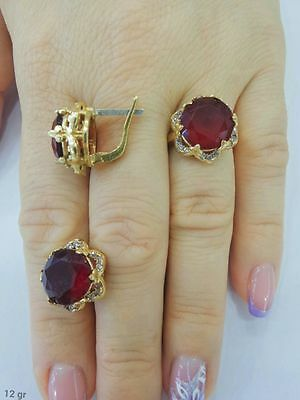 925 Sterling  Silver Handcraft Jewelry Fabulous Red Ruby Ladie's Set