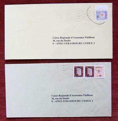 Algeria - 2 modern commercial covers with revenue stamps