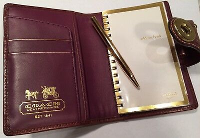 Coach Plum Burgundy Leather  Turnlock Day Planner Agenda Organizer w/ Pen