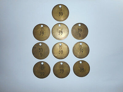 10 Vintage Brass 39 D Cow Number Tags Dairy Farm Collector Art project
