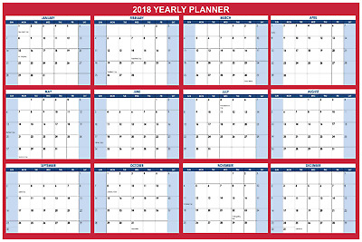 large wall dry erase office calendaryearly planner 2018 24x36