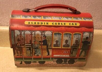 Vintage 1962 Aladdin Cable Car Dome Metal Lunchbox
