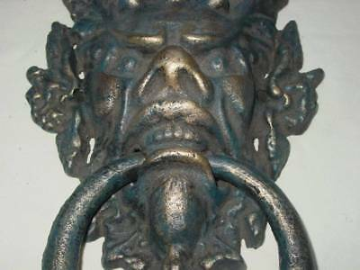 Large Gothic Medieval Door Knocker~BlueGreen & Gold~Gothic~Door Decor~Devil