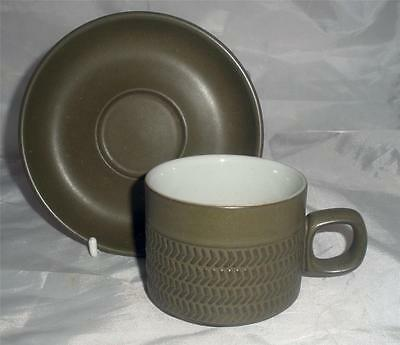 Denby Pottery Chevron Pattern 8cm Dia Cup with Saucer made in Stoneware
