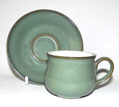 Denby Pottery Regency Green Pattern 8cm Dia Cup with Saucer in Stoneware