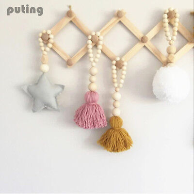 Wooden Beads String Star Love Tassels Wall Tent Hanging Decoration Props Toys