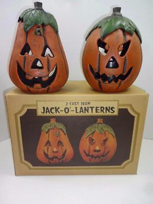 Cast Iron Halloween Pumpkins Candle Holder Jack-O-Lantern. Swc.