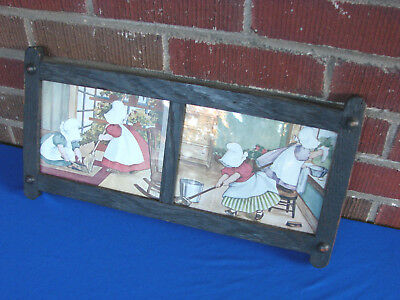 Antique Mission Arts & Crafts Oak Two Panel Frame W/ Sunnbonnet Babies Print