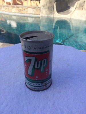 Vintage Antique Collectible 7 up Tin Can ring top great shape