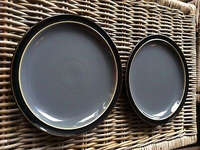 2 X  Denby Duet Charcoal Grey And Black Dinner Plates