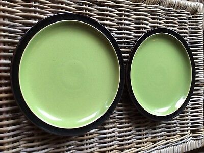 2 X Denby Duets Green And Black Dinner Plates