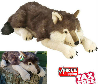 Soft Giant Wolf Body Pillow Plush Stuffed Animal Toy Lover Realistic