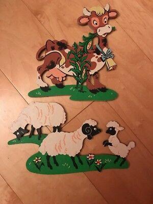 Vintage Dolly Toy Co. Cardboard Cut Outs Meadow Sheep And Cow Nursery Wall Art