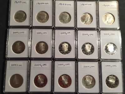 Lot of 15 Silver Kennedy Half Dollars, 5 of 1964D & 10 of 2004S Uncirculated....