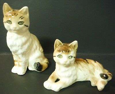 Vintage Set of 2 Ceramic Cats Kittens Hand Painted Figurines  Made in Japan